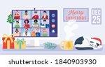 people meeting online via video ... | Shutterstock .eps vector #1840903930