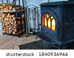 Cast Iron Stove With Fire And...