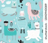 seamless pattern with cute...   Shutterstock .eps vector #1840940089