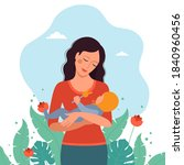 mom looks at the baby and holds ... | Shutterstock .eps vector #1840960456