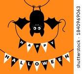 hanging bat holding bunting...   Shutterstock .eps vector #1840969063