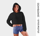 mockup of a black hoodie on a... | Shutterstock . vector #1840984450