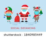 santa claus in a hat with a bag ... | Shutterstock .eps vector #1840985449