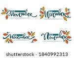 vector set of hello november ... | Shutterstock .eps vector #1840992313