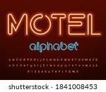 neon light alphabet design with ... | Shutterstock .eps vector #1841008453