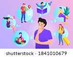 man thinking of leisure or... | Shutterstock .eps vector #1841010679