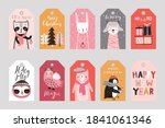 cute gift tags with woodland...   Shutterstock .eps vector #1841061346