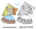 cute blond princess playing... | Shutterstock .eps vector #1841077549