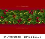 christmas and new year wreath... | Shutterstock .eps vector #1841111173