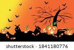 jack o lantern at the graveyard.... | Shutterstock .eps vector #1841180776