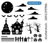 set of halloween illustration... | Shutterstock .eps vector #1841195986