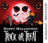happy halloween background for... | Shutterstock .eps vector #1841214139