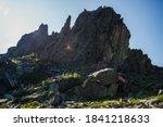 Silhouette Of Big Sharp Rock...