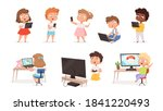 kids using gadgets. tablet pc... | Shutterstock .eps vector #1841220493