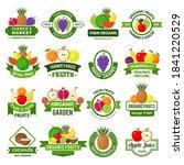 fruits logos. decoration badges ... | Shutterstock .eps vector #1841220529