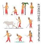 indian harvester. farmer human... | Shutterstock .eps vector #1841220619