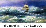 Old Ship On The Sea. Digital...