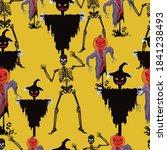 skeleton and halloween man... | Shutterstock .eps vector #1841238493