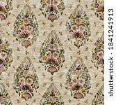 seamless floral sepia grunge... | Shutterstock . vector #1841241913