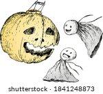 pumpkin and ghosts for halloween | Shutterstock .eps vector #1841248873