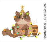 christmas fluffy sad kitten ... | Shutterstock .eps vector #1841261026