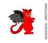 devil cat. satan pet. red demon ... | Shutterstock .eps vector #1841273266