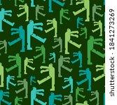 zombie pattern seamless. dead... | Shutterstock .eps vector #1841273269