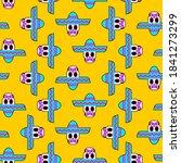 skull in sombrero pattern... | Shutterstock .eps vector #1841273299