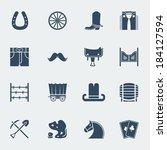 Cowboy Icons. Vector Western...