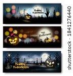 set of halloween spooky banners.... | Shutterstock .eps vector #1841276440