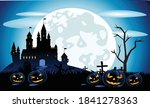 background moon night pumpkin... | Shutterstock .eps vector #1841278363