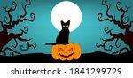 black cat in full moon night... | Shutterstock .eps vector #1841299729