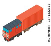 Red Train Icon. Isometric...