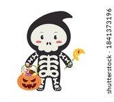 little halloween skeleton boy...   Shutterstock .eps vector #1841373196
