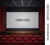 cinema or theater hall, wood podium, red chairs, red curtain, wide screen with sign coming soon. realistic vector illustration.