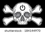 skull crossbones with digital...