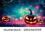 glowing halloween pumpkin... | Shutterstock . vector #1841464549