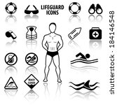 lifeguard and beach warning... | Shutterstock .eps vector #184146548