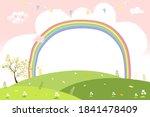 cute cartoon spring landscape...   Shutterstock .eps vector #1841478409
