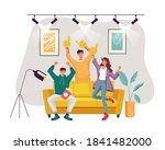 happy smiling sport fans... | Shutterstock .eps vector #1841482000