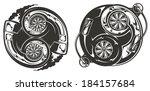 stylized turbocharger yin yang...   Shutterstock .eps vector #184157684