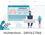 doctor checks lung condition... | Shutterstock .eps vector #1841617366
