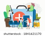 patients catching cold  feeling ... | Shutterstock .eps vector #1841621170