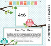 owl scrapbooking template with... | Shutterstock .eps vector #184162898