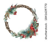Floral Winter Wreath With Red...