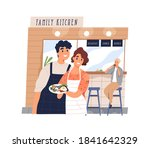 cute family cafe with happy... | Shutterstock .eps vector #1841642329