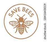 save bees design with text   Shutterstock .eps vector #1841643019
