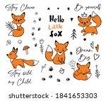 doodle fox quote sketch poster... | Shutterstock .eps vector #1841653303