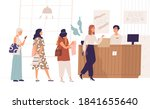 women standing in queue at... | Shutterstock .eps vector #1841655640