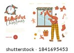 man decorating window with... | Shutterstock .eps vector #1841695453
